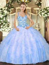Floor Length Baby Blue Quince Ball Gowns Straps Sleeveless Lace Up
