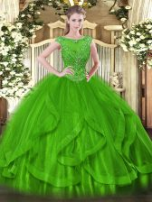 Simple Tulle Scoop Sleeveless Zipper Beading Sweet 16 Dresses in Green