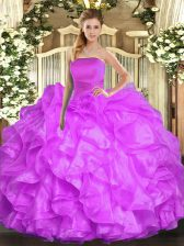 Floor Length Lilac 15 Quinceanera Dress Strapless Sleeveless Lace Up