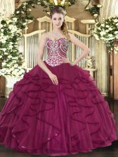 Stylish Floor Length Ball Gowns Sleeveless Burgundy 15 Quinceanera Dress Lace Up