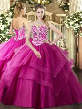 Amazing Fuchsia Sleeveless Tulle Lace Up 15 Quinceanera Dress for Military Ball and Sweet 16 and Quinceanera