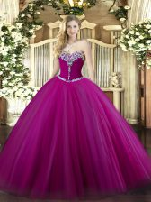 Exceptional Floor Length Fuchsia 15th Birthday Dress Sweetheart Sleeveless Lace Up