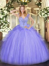 Discount Tulle Sleeveless Floor Length 15 Quinceanera Dress and Beading