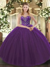 Admirable Floor Length Dark Purple Ball Gown Prom Dress Sweetheart Sleeveless Lace Up