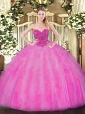 Fuchsia Lace Up Quinceanera Gowns Beading and Ruffles Sleeveless Floor Length
