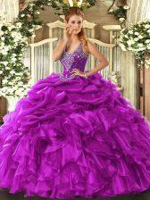 Perfect Straps Sleeveless Vestidos de Quinceanera Floor Length Beading and Ruffles and Pick Ups Fuchsia Organza