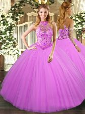 Halter Top Sleeveless Tulle Sweet 16 Quinceanera Dress Beading and Embroidery Lace Up