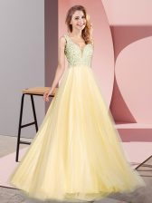 Clearance Floor Length Gold Prom Party Dress Tulle Sleeveless Lace
