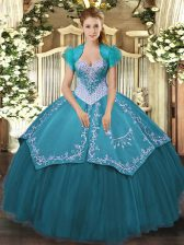 Sweetheart Sleeveless 15th Birthday Dress Floor Length Beading and Embroidery Teal Satin and Tulle