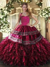 Clearance Organza Halter Top Sleeveless Lace Up Embroidery and Ruffles 15th Birthday Dress in Wine Red