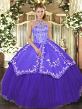 Sleeveless Satin and Tulle Floor Length Lace Up Sweet 16 Dresses in Purple with Beading and Embroidery