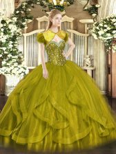 Flare Olive Green Sweetheart Lace Up Beading and Ruffles Ball Gown Prom Dress Sleeveless