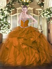 Fantastic Brown Quinceanera Dresses Military Ball and Sweet 16 and Quinceanera with Beading and Ruffles Sweetheart Sleeveless Lace Up