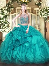Sophisticated Organza Scoop Sleeveless Lace Up Beading and Ruffles Ball Gown Prom Dress in Teal