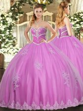 Popular Rose Pink Ball Gowns Tulle Sweetheart Sleeveless Beading and Appliques Floor Length Lace Up 15th Birthday Dress