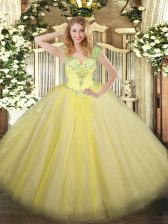 Most Popular V-neck Sleeveless Lace Up 15 Quinceanera Dress Light Yellow Tulle