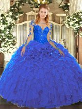 Customized Organza Scoop Long Sleeves Lace Up Lace and Ruffles Sweet 16 Dresses in Blue