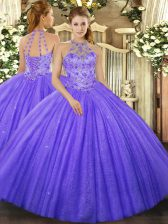 Lavender Ball Gowns Beading and Embroidery Ball Gown Prom Dress Lace Up Tulle Sleeveless Floor Length