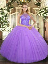 Designer Lavender Sleeveless Beading Floor Length Quince Ball Gowns