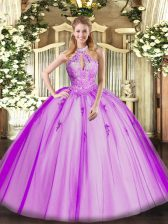 Attractive Tulle Halter Top Sleeveless Lace Up Lace and Appliques Quinceanera Dresses in Fuchsia