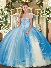 Ideal Baby Blue Strapless Lace Up Appliques and Ruffles Quince Ball Gowns Sleeveless