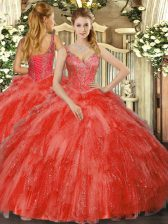 Red Sweet 16 Dress Military Ball and Sweet 16 and Quinceanera with Beading and Ruffles V-neck Sleeveless Lace Up