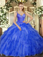 Enchanting Royal Blue Ball Gown Prom Dress Military Ball and Sweet 16 and Quinceanera with Beading and Ruffles V-neck Sleeveless Lace Up