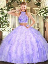 Chic Sleeveless Criss Cross Floor Length Beading and Ruffles Quinceanera Dresses