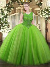 Fancy Scoop Sleeveless Vestidos de Quinceanera Floor Length Beading Tulle
