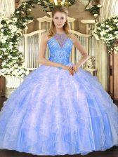 Custom Design Ball Gowns Ball Gown Prom Dress Blue High-neck Organza Sleeveless Floor Length Lace Up