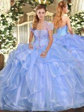 Modern Light Blue Sleeveless Appliques and Ruffles Floor Length Sweet 16 Quinceanera Dress