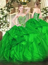Vintage Green Ball Gowns Beading and Ruffles Sweet 16 Quinceanera Dress Lace Up Organza Sleeveless Floor Length