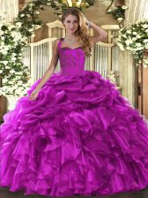 Floor Length Fuchsia Quince Ball Gowns Halter Top Sleeveless Lace Up