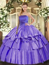 Floor Length Lace Up Quinceanera Gowns Lavender for Military Ball and Sweet 16 and Quinceanera with Ruffled Layers
