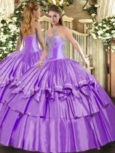 Wonderful Floor Length Lace Up Ball Gown Prom Dress Lavender for Military Ball and Sweet 16 and Quinceanera with Beading and Ruffled Layers