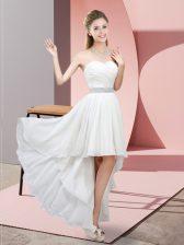 Glittering White Lace Up Sweetheart Beading Prom Evening Gown Chiffon Sleeveless