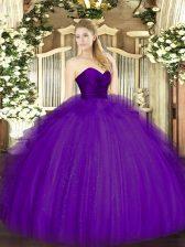 Ball Gowns 15 Quinceanera Dress Purple Sweetheart Tulle Sleeveless Floor Length Zipper