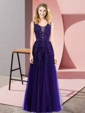 Purple Tulle Backless Square Sleeveless Floor Length Prom Dresses Beading and Appliques