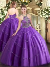Floor Length Purple Quinceanera Dresses Tulle Sleeveless Beading and Appliques