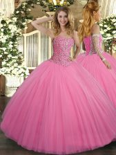 Rose Pink Sleeveless Tulle Lace Up Quinceanera Dress for Military Ball and Sweet 16 and Quinceanera