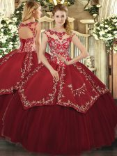 Ideal Beading and Appliques and Embroidery Sweet 16 Dresses Wine Red Lace Up Cap Sleeves Floor Length
