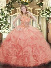 Artistic Beading and Ruffles Quinceanera Dresses Baby Pink Zipper Sleeveless Floor Length