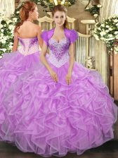 Vintage Lilac Sweetheart Neckline Beading and Ruffles 15th Birthday Dress Sleeveless Lace Up