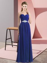 Custom Designed Blue Sleeveless Beading Floor Length Prom Evening Gown
