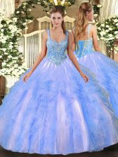 Glorious Sleeveless Floor Length Beading and Ruffles Lace Up Quince Ball Gowns with Light Blue