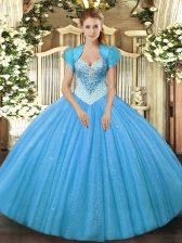 Glorious Aqua Blue Sleeveless Floor Length Beading Lace Up Quinceanera Dress