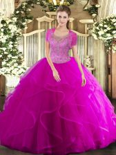 Sexy Sleeveless Clasp Handle Floor Length Beading and Ruffled Layers Quinceanera Dress