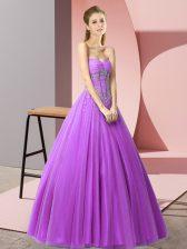 Admirable Purple Sweetheart Lace Up Beading Sleeveless