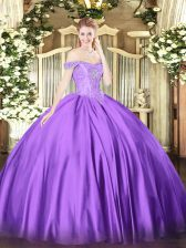 Custom Design Sleeveless Floor Length Beading Lace Up Sweet 16 Dresses with Purple