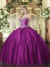 Unique Floor Length Ball Gowns Sleeveless Fuchsia Quinceanera Gowns Lace Up